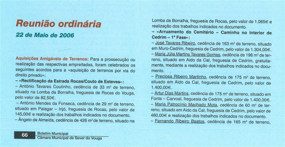 BoletimMunicipal-n.º 20-set.'06-p.66-Deliberações [1.ª de cinco partes] : Reunião Ordinária : 22 de maio de 2006.jpg