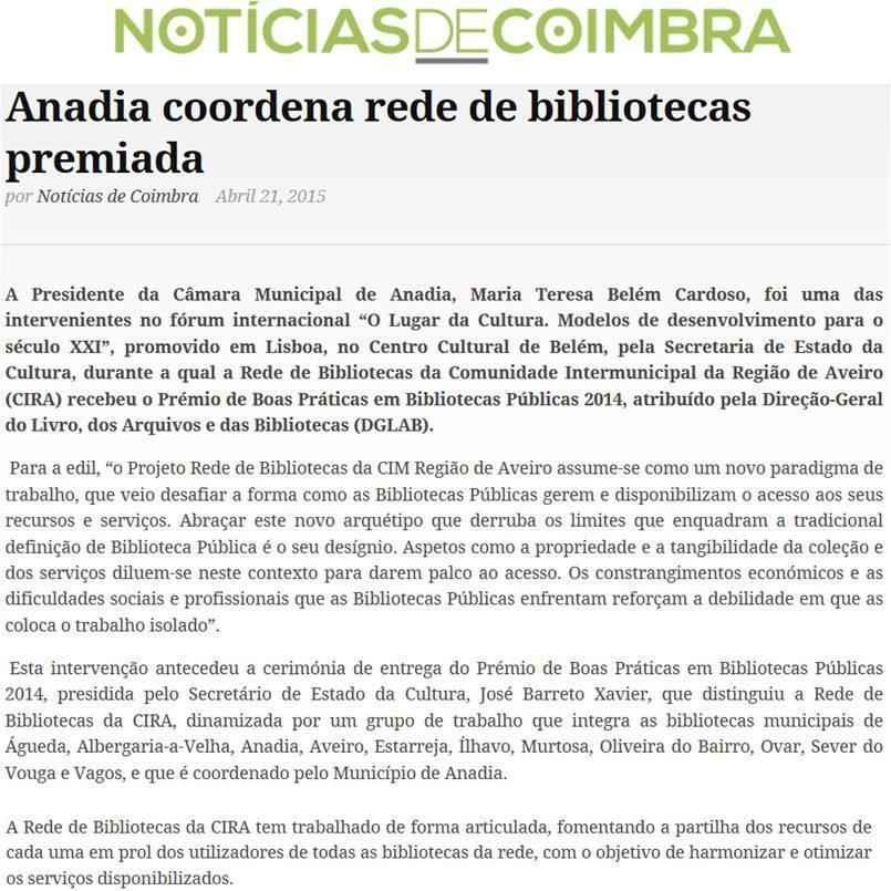Notícias de Coimbra[em linha]-21abr.'15-Anadia coordena rede de bibliotecas premiada.jpg
