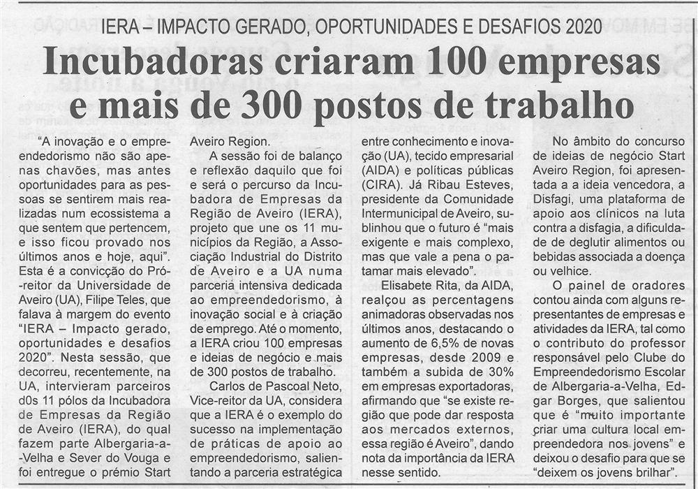 BV-2.ªjul.'15-p.6-Incubadoras criaram 100 empresas e mais de 300 postos de trabalho : IERA : impacto gerado : oportunidades e desafios 2020.jpg