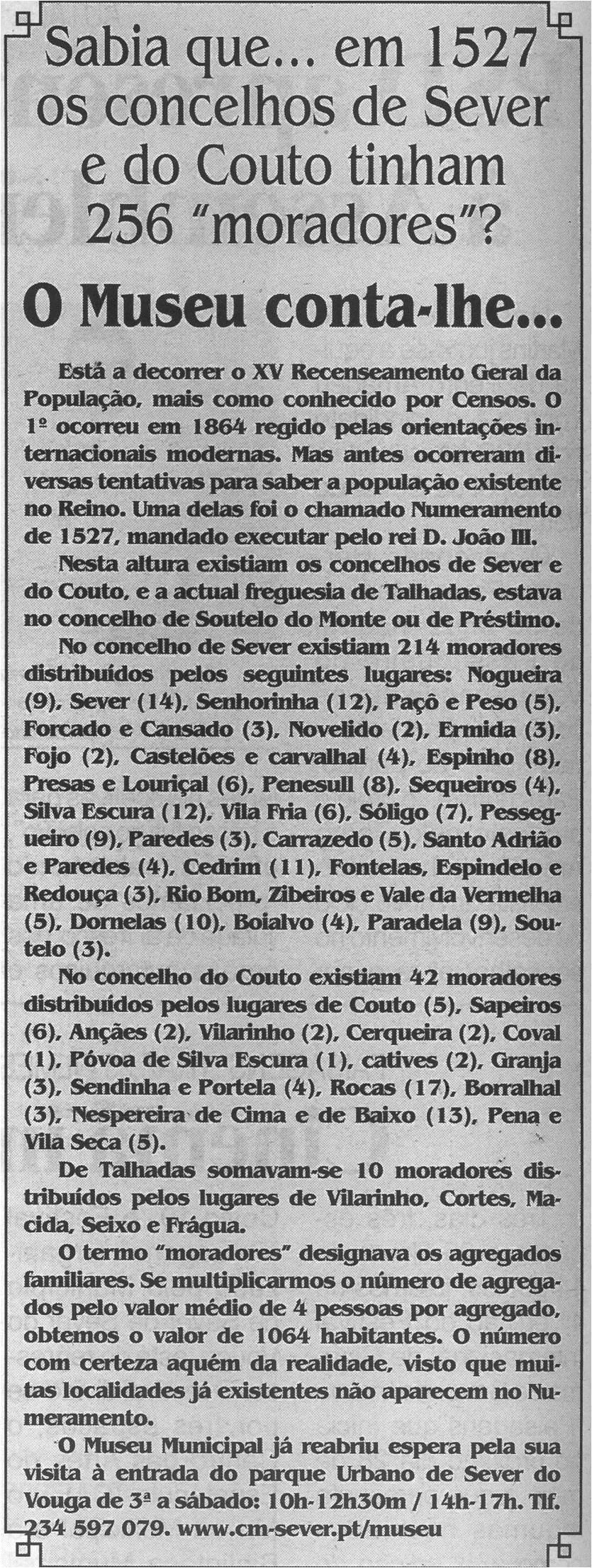 BV-2.ªmaio'21-p.6-O Museu conta-lhe : Sabia que em 1527 os Concelhos de Sever e do Couto tinham 256 moradores?.jpg
