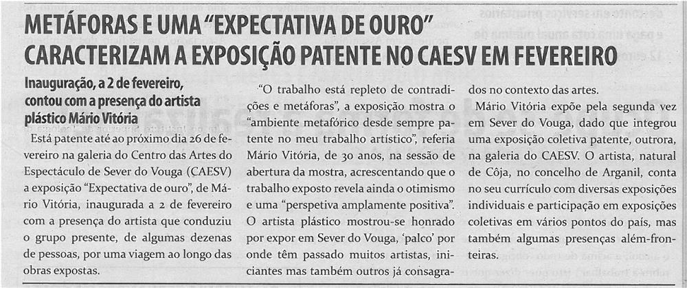 """TV-mar13-p17-Metáforas e uma """"Expectativa de Ouro"""" caracterizam a exposição patente no CAESV em Fevereiro"""