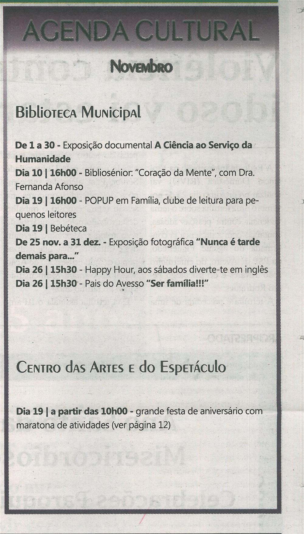 TV-nov.'16-p.19-Agenda Cultural - novembro - Biblioteca Municipal - Centro das Artes e do Espetáculo.jpg