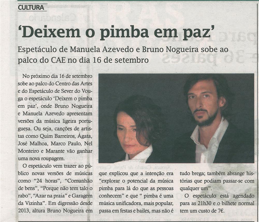 TV-set.'17-p.19-Deixem o pimba em paz : espetáculo de Manuela Azevedo e Bruno Nogueira sobe ao palco do CAE no dia 16 de setembro.jpg