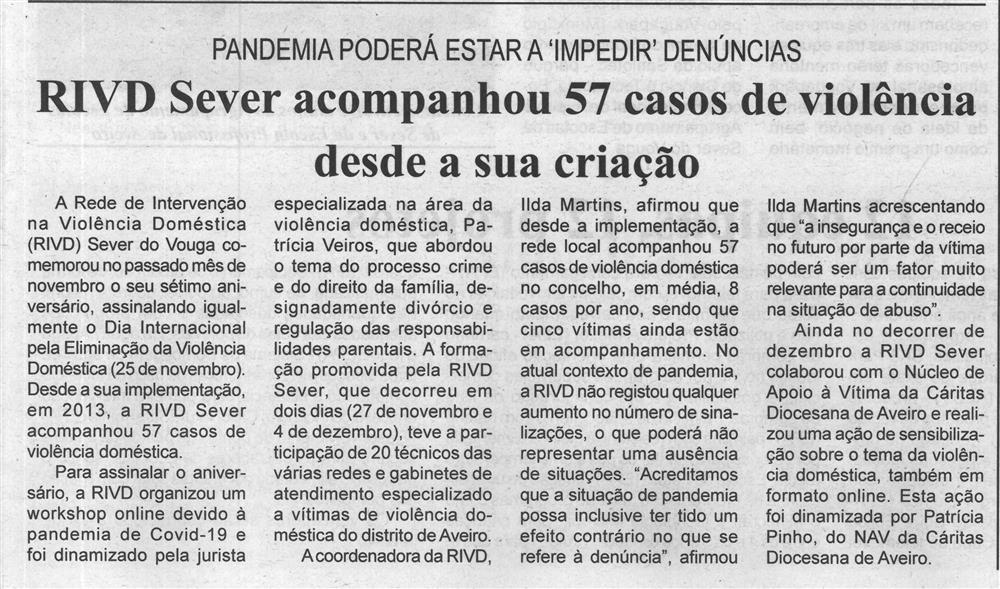 BV-23dez.'20-p.3-RIVD Sever acompanhou 57 casos de violência desde a sua criação : pandemia poderá estar a impedir denúncias.jpg