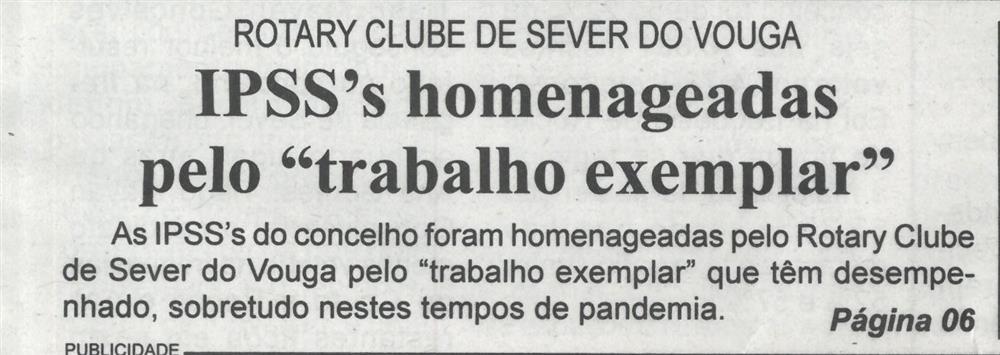 BV-1.ªfev.'21-p.1-Rotary Clube de Sever do Vouga : IPSS's homenageadas pelo trabalho exemplar.JPG