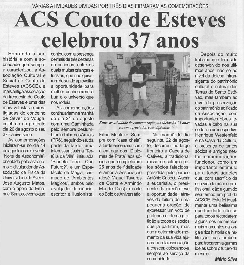 BV-2.ª set. '21-p. 2-ACS Couto de Esteves celebrou 37 anos : várias atividades divididas por três dias firmaram as comemorações .jpg