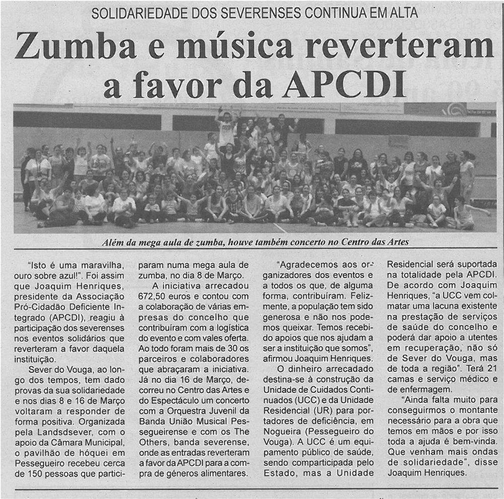 JPEG: BV-2ªmar'14-p6-Zumba e música reverteram a favor da APCDI : solidariedade dos severenses continua em alta