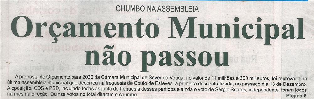 BV-2.ªdez.'19-p.1-Orçamento Municipal não passou : chumbo na Assembleia.jpg