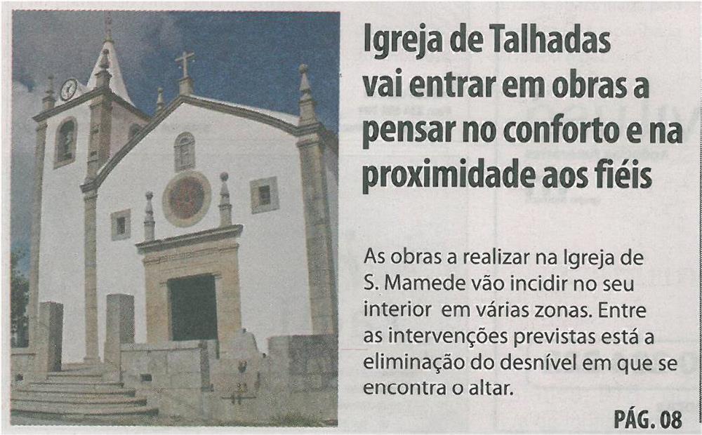 TV-abr13-p1-Igreja de Talhadas vai entrar em obras a pensar no conforto e na proximidade aos fiéis