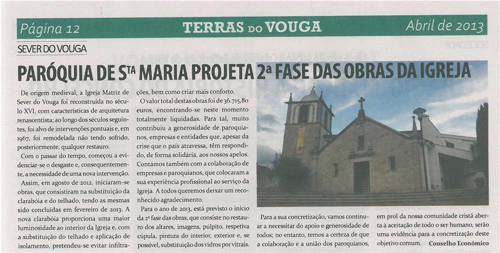 TV-abr13-p12-Paróquia de Santa Maria projeta 2.ª fase das obras da igreja