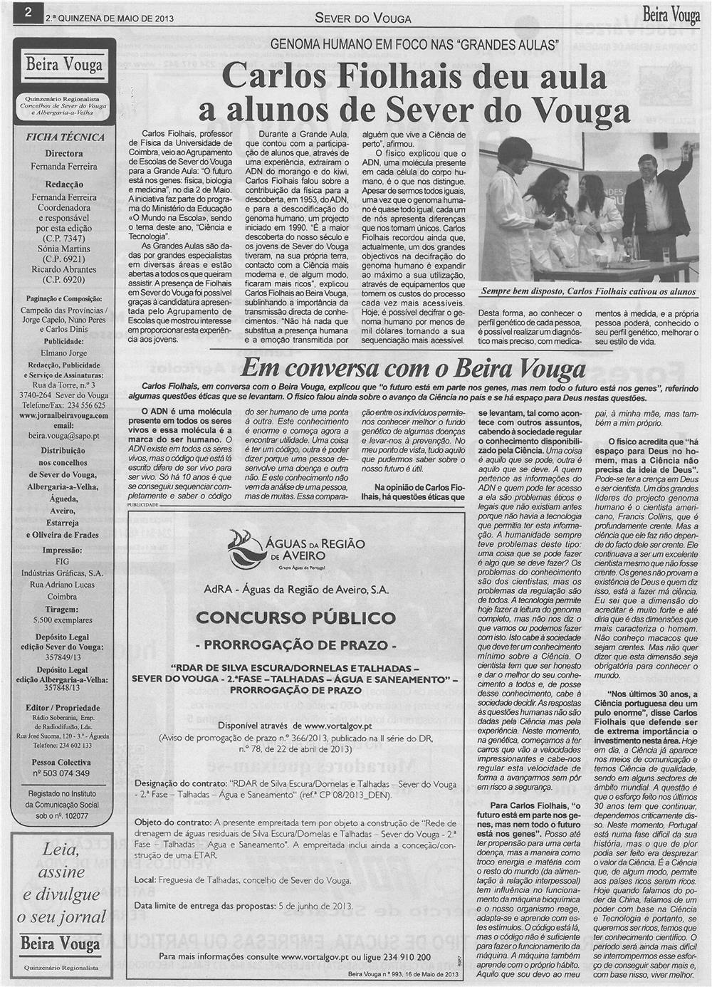 BV-2ªmaio13-p2-Carlos Fiolhais deu aula a alunos de Sever do Vouga