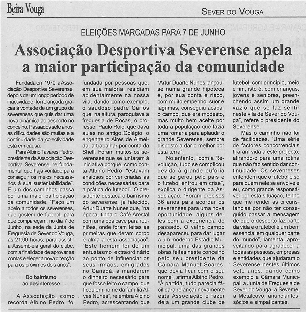 BV-1ªjun13-p3-Associação Desportiva Severense apela a maior participação da comunidade