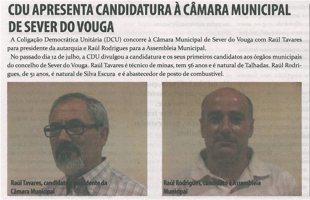 TV-ago13-p14-CDU apresenta candidatura à Câmara Municipal de Sever do Vouga