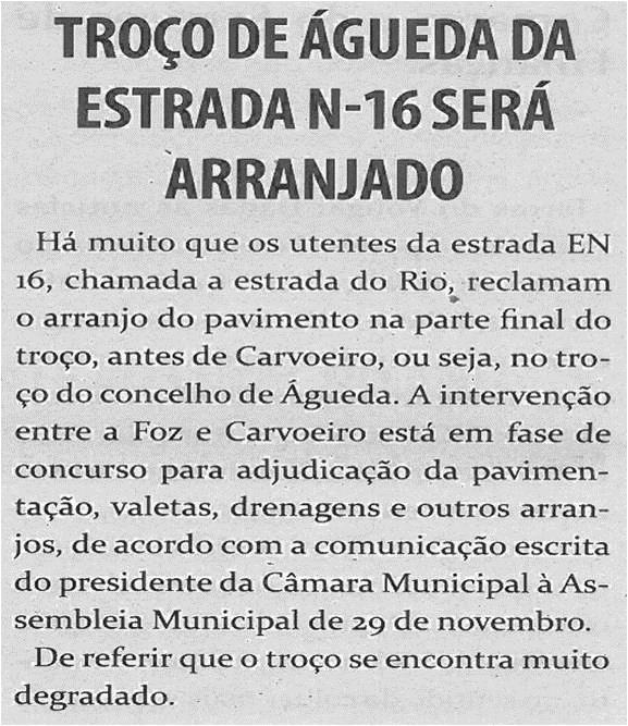 TV-dez13-p6-Troço de Águeda da Estrada N 16 será arranjado
