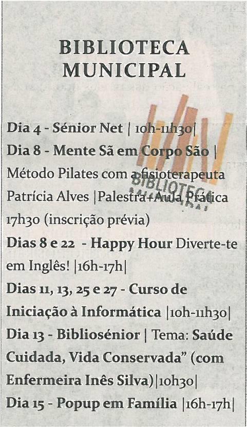 TV-fev14-p19.Cultura em Sever :  fevereiro : Biblioteca Municipal