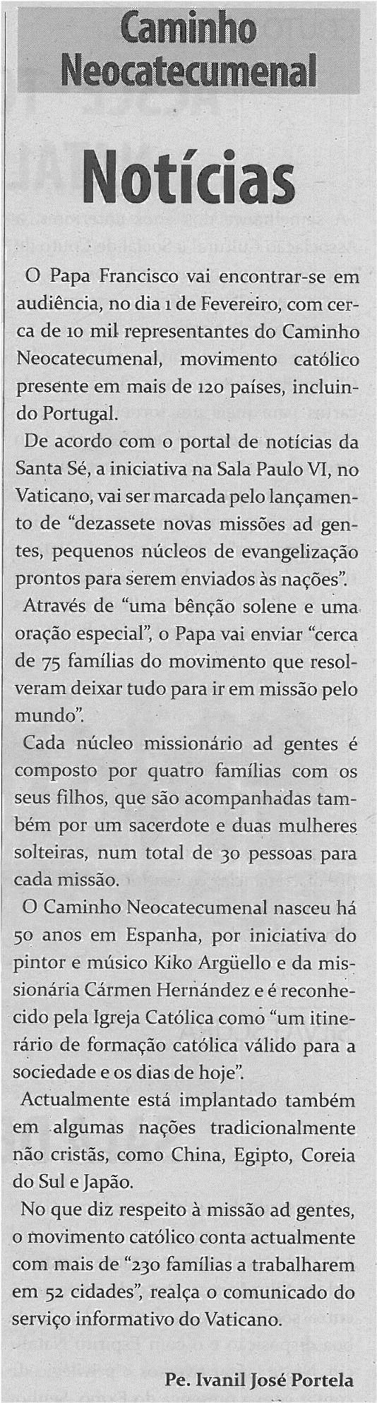 TV-fev14-p14-Notícias : Caminho Neocatecumenal