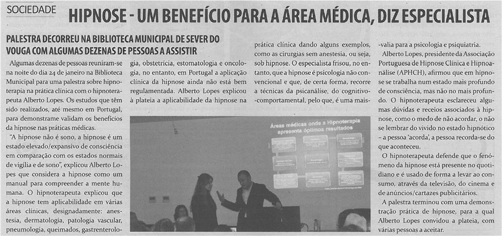 TV-fev14-p7-Hipnose : um benefício para a área médica, diz especialista : palestra decorreu na Biblioteca Municipal de Sever do Vouga com algumas dezenas de pessoas a assistir