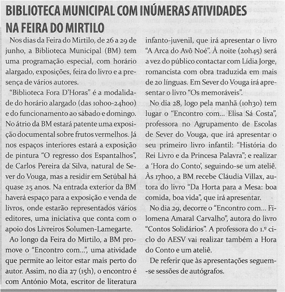 TV-jun14-p18-Biblioteca Municipal com inúmeras atividades na Feira do Mirtilo