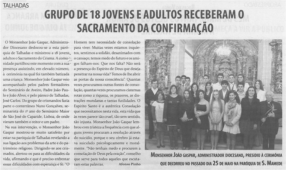 TV-jun14-p13-Grupo de jovens e adultos receberam o Sacramento da Confirmação : Talhadas - JPG