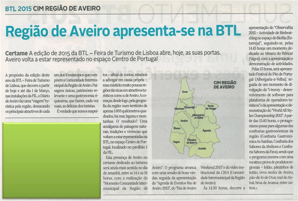 DA-25fev.'15-Suplemento BTL 2015-p.2-Região de Aveiro apresenta-se na BTL : BTL 2015 : CIM Região de Aveiro.jpg