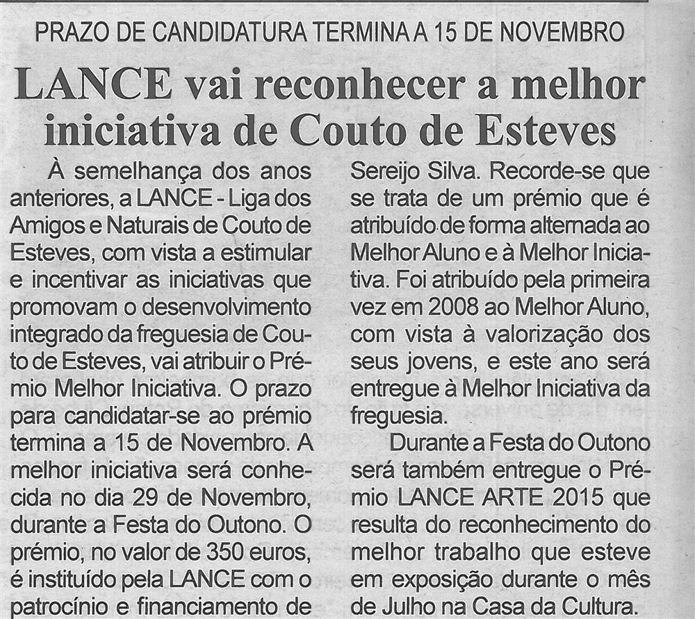 BV-1.ª nov.'15 - p.4-Lance vai reconhecer a melhor iniciativa de Couto de Esteves : prazo de candidatura termina a 15 de novembro. jpg