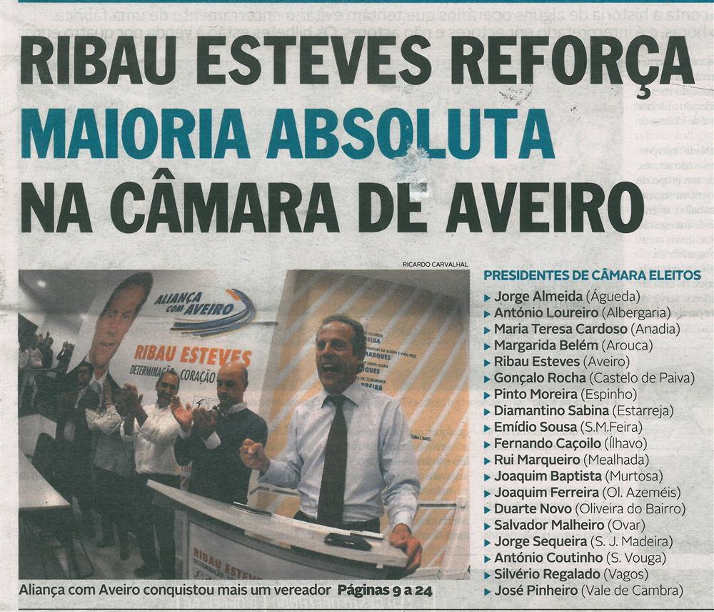 DA-02out'17-p.1-Ribau Esteves reforça maioria absoluta na Câmara de Aveiro : Aliança com Aveiro conquistou mais um vereador.jpg
