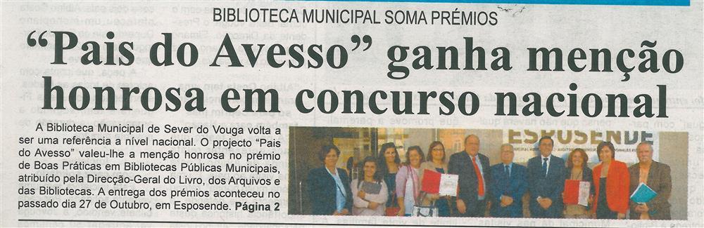 BV-1.ªnov.'17-p.1-Pais do Avesso ganha menção honrosa em concurso nacional : Biblioteca Municipal soma prémios.jpg