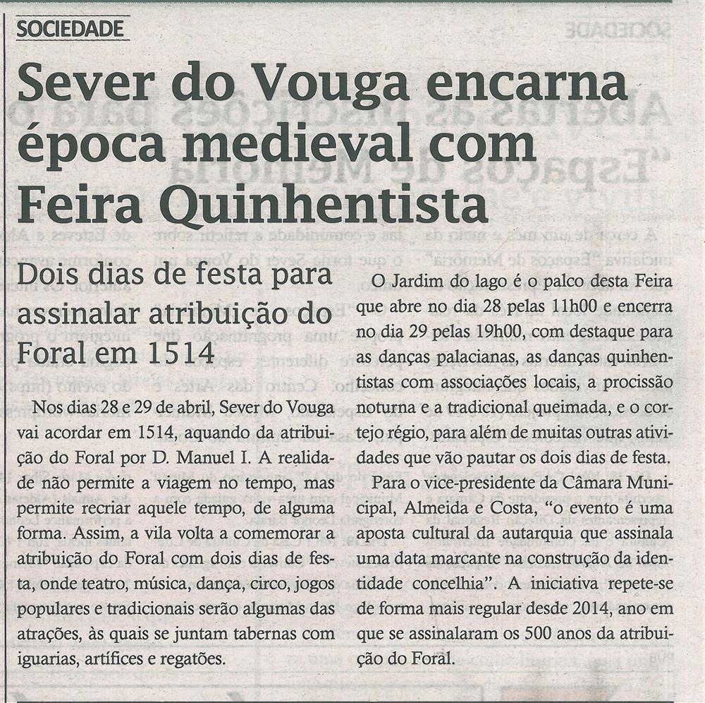 TV-abr.'18-p.16-Sever do Vouga encarna época medieval com Feira Quinhentista : dois dias festa para assinalar atribuição do Foral de 1514.jpg