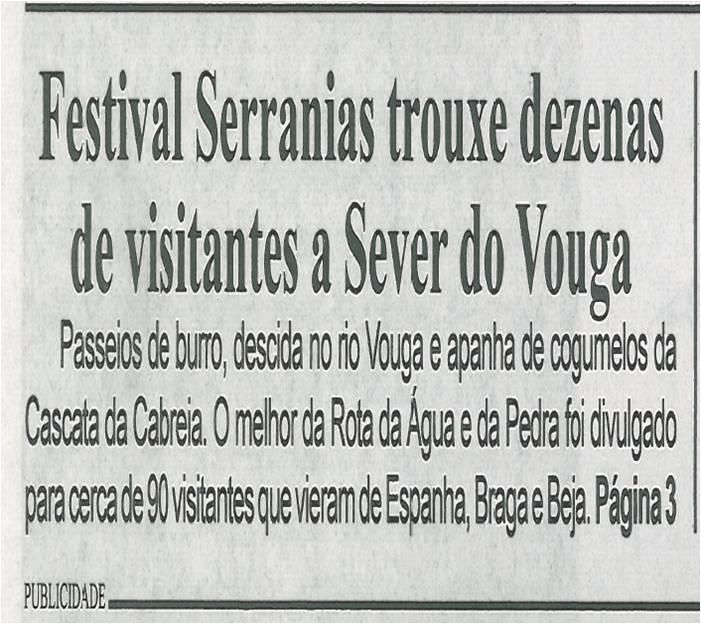 BV-1.ªdez.'14-p.1-Festival Serranias trouxe dezenas de visitantes a Sever do Vouga : passeios de burro, descida no Rio Vouga e apanha de cogumelos da Cascata da Cabreia.jpg