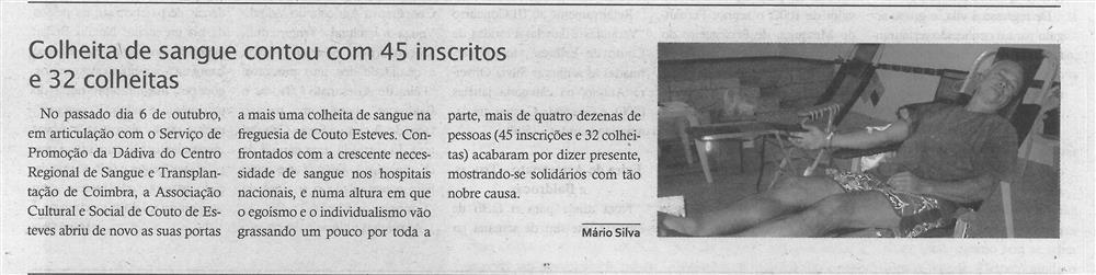 TV-nov.'19-p.14-Paróquias e freguesias : Couto de Esteves : Colheita de sangue contou com 45 inscritos e 32 colheitas.jpg