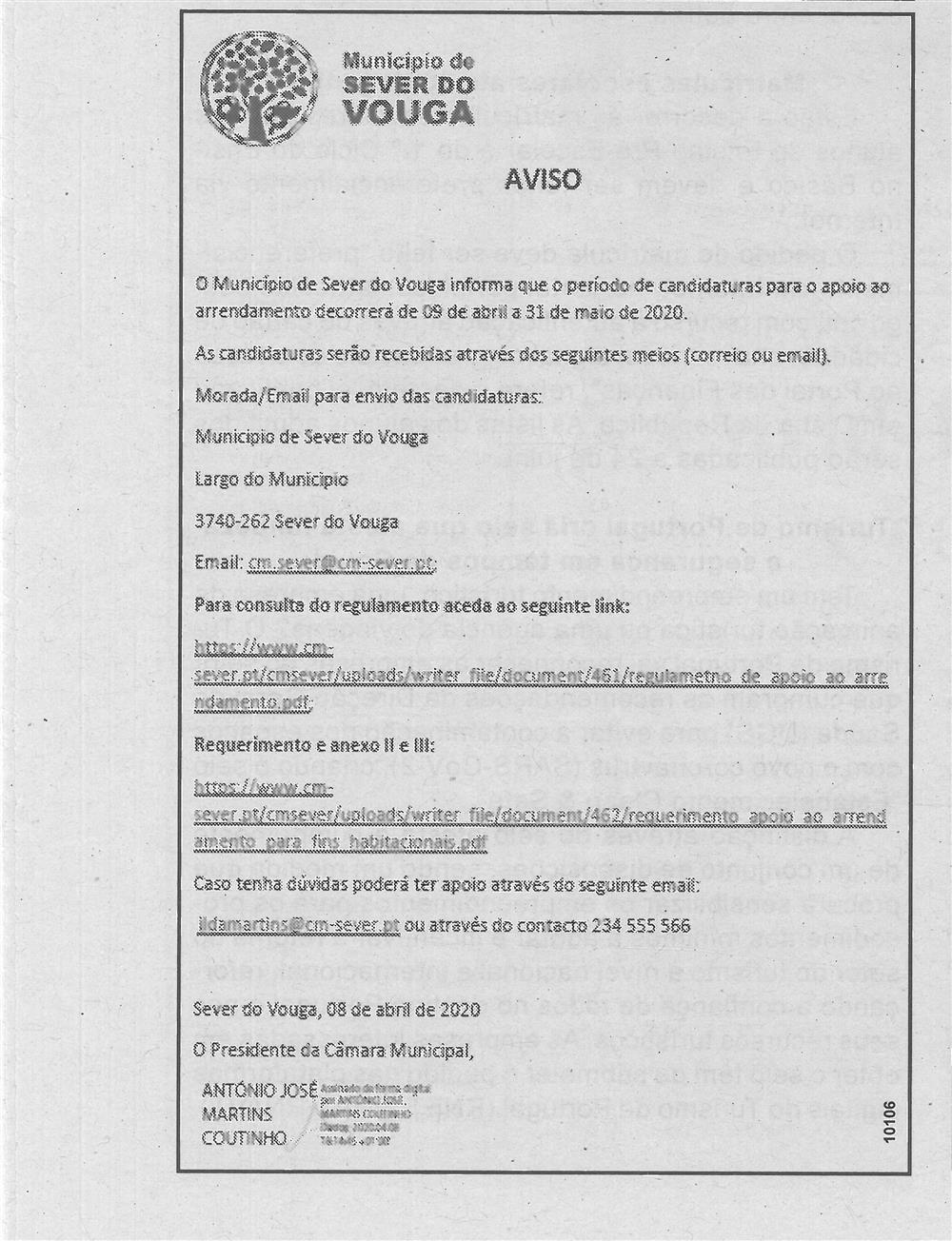 BV-1.ªmaio'20-p.6-Município de Sever do Vouga : Aviso : o Município de Sever do Vouga informa que o período de candidaturas para o apoio ao arrendamento decorrerá de 9 de abril a 31 de maio de 2020.jpg