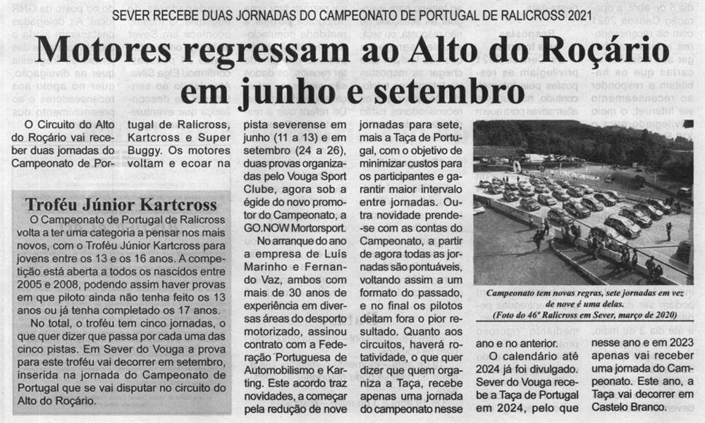 BV-1.ªabr.'21-p.7-Motores regressam ao Alto do Roçário em junho e setembro : Sever recebe duas jornadas do Campeonato de Portugal de Ralicross 2021.JPG