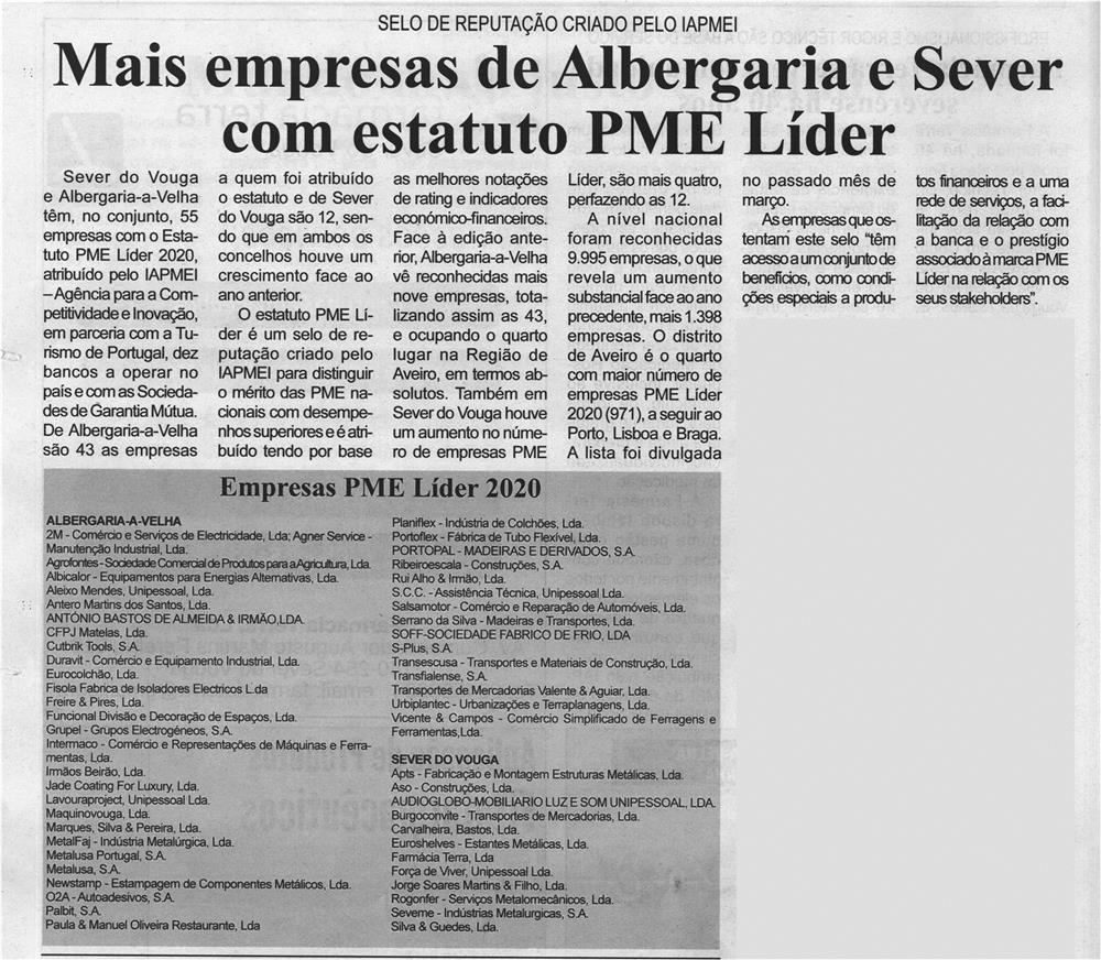 BV-1.ªabr.'21-p.12-Mais empresas de Albergaria e Sever com estatuto PME Líder : selo de reputação criado pelo IAPMEI.jpg
