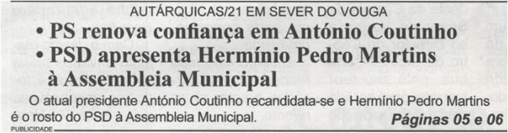 BV-2.ªmaio'21-p.1-Autárquicas 21 em Sever do Vouga - PS renova confiança em António Coutinho [e] PSD apresenta Hermínio Pedro Martins à Assembleia Municipal.jpg