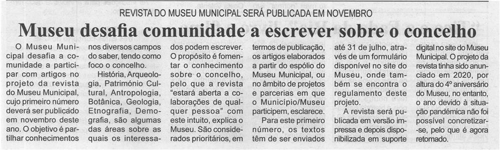 BV-1.ªjun.'21-p.5-Museu desafia comunidade a escrever sobre o Concelho : Revista do Museu Municipal será publicada em novembro.jpg