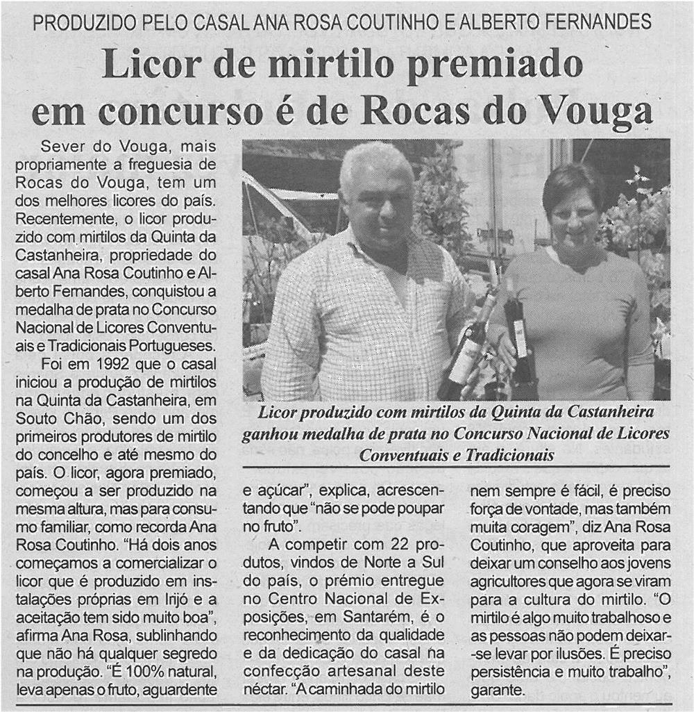 JPEG: BV-2ªabr'14-p4-Licor de mirtilo premiado em concurso é de Rocas do Vouga : produzido pelo casal Ana Rosa Coutinho e Alberto Fernandes