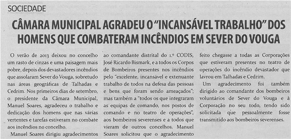 TV-out13-p13-Câmara Municipal agradeceu o incansável trabalho dos homens que combateram incêndios em Sever do Vouga