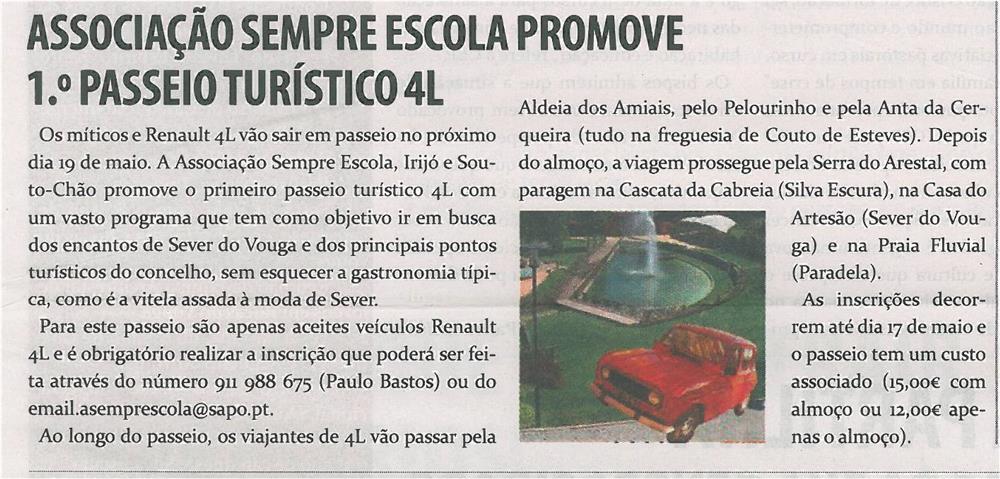 TV-maio13-p19-Associação Sempre Escola promove 1.º Passeio Turístico 4L