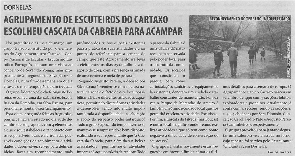 TV-abr14-p9-Agrupamento de Escuteiros do Cartaxo escolheu Cascata da Cabreia para acampar