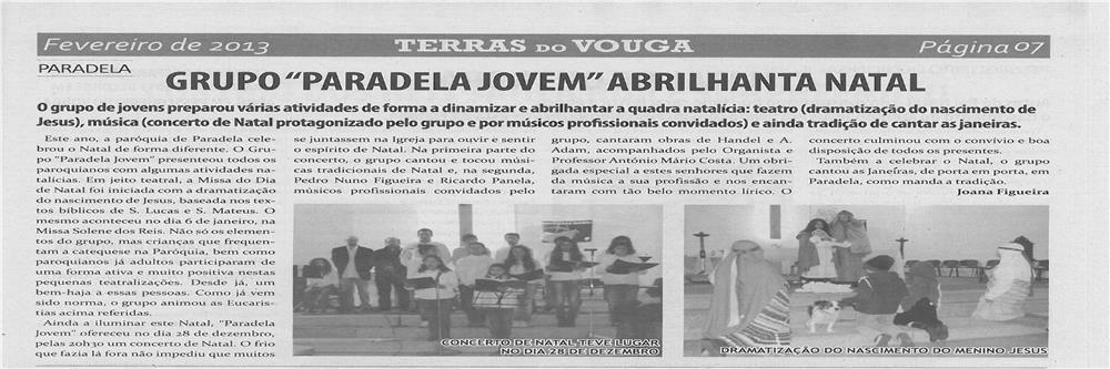 TV-fev13-p7-Grupo Paradela Jovem abrilhanta Natal