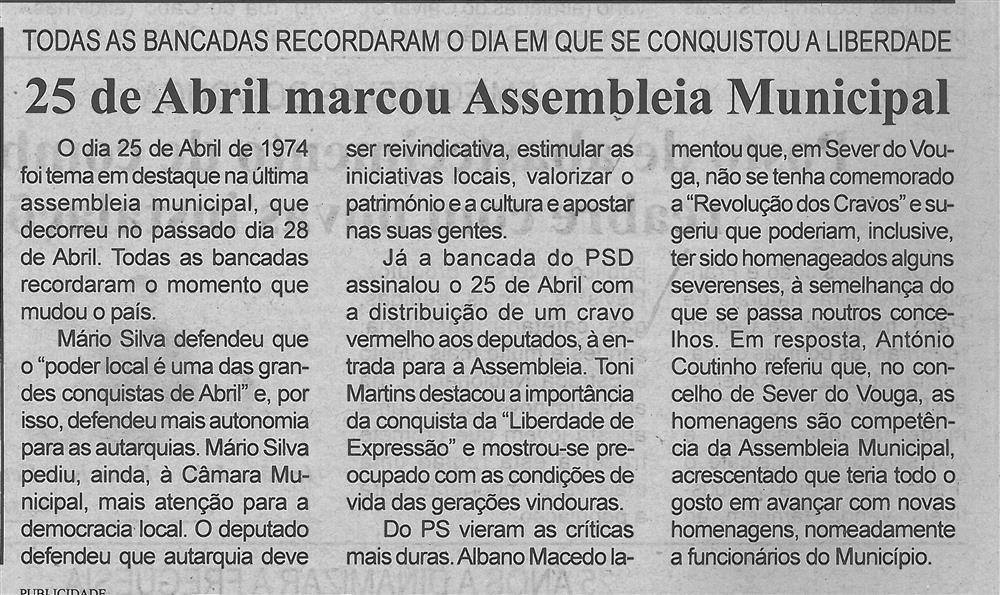 BV-1.ªmaio'17-p.5-25 de Abril marcou Assembleia Municipal : todas as bancadas recordaram o dia em que se conquistou a liberdade.jpg