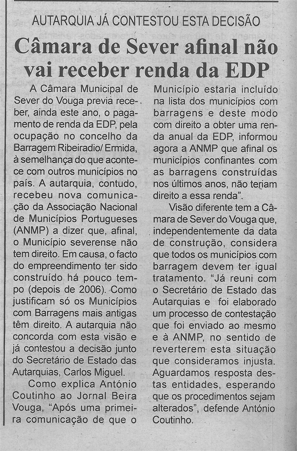 BV-2.ªmaio'16-p.6-Câmara de Sever afinal não vai receber renda da EDP : autarquia já contestou esta decisão.jpg