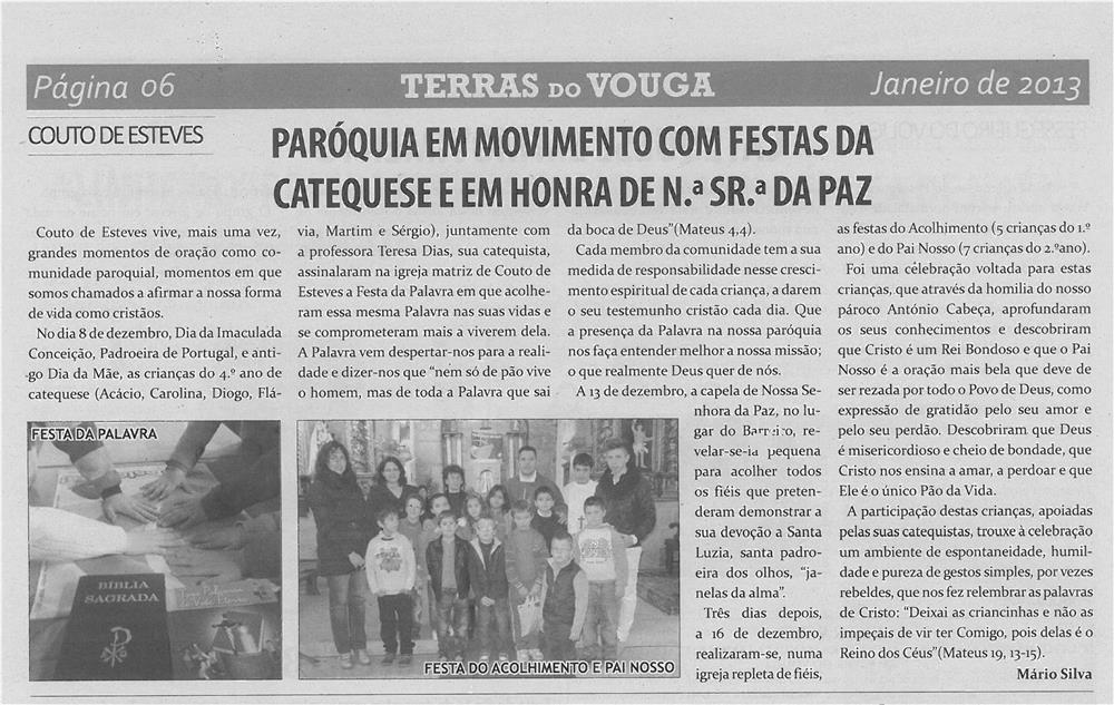 TV-jan13-p6-Paróquia em movimento com festas da catequese e em honra de Nossa Senhora da Paz