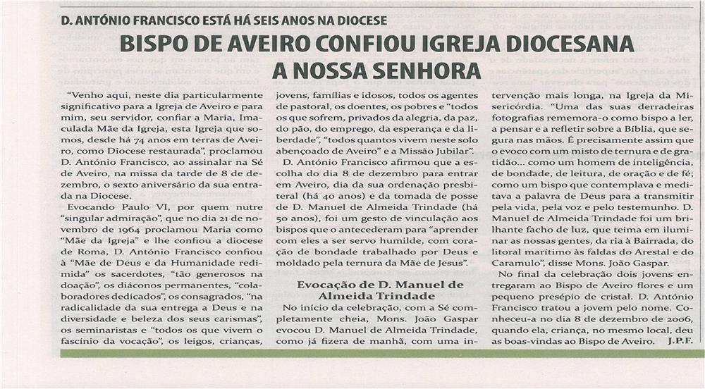 TV-jan13-p12-Bispo de Aveiro confiou Igreja Diocesana a Nossa Senhora