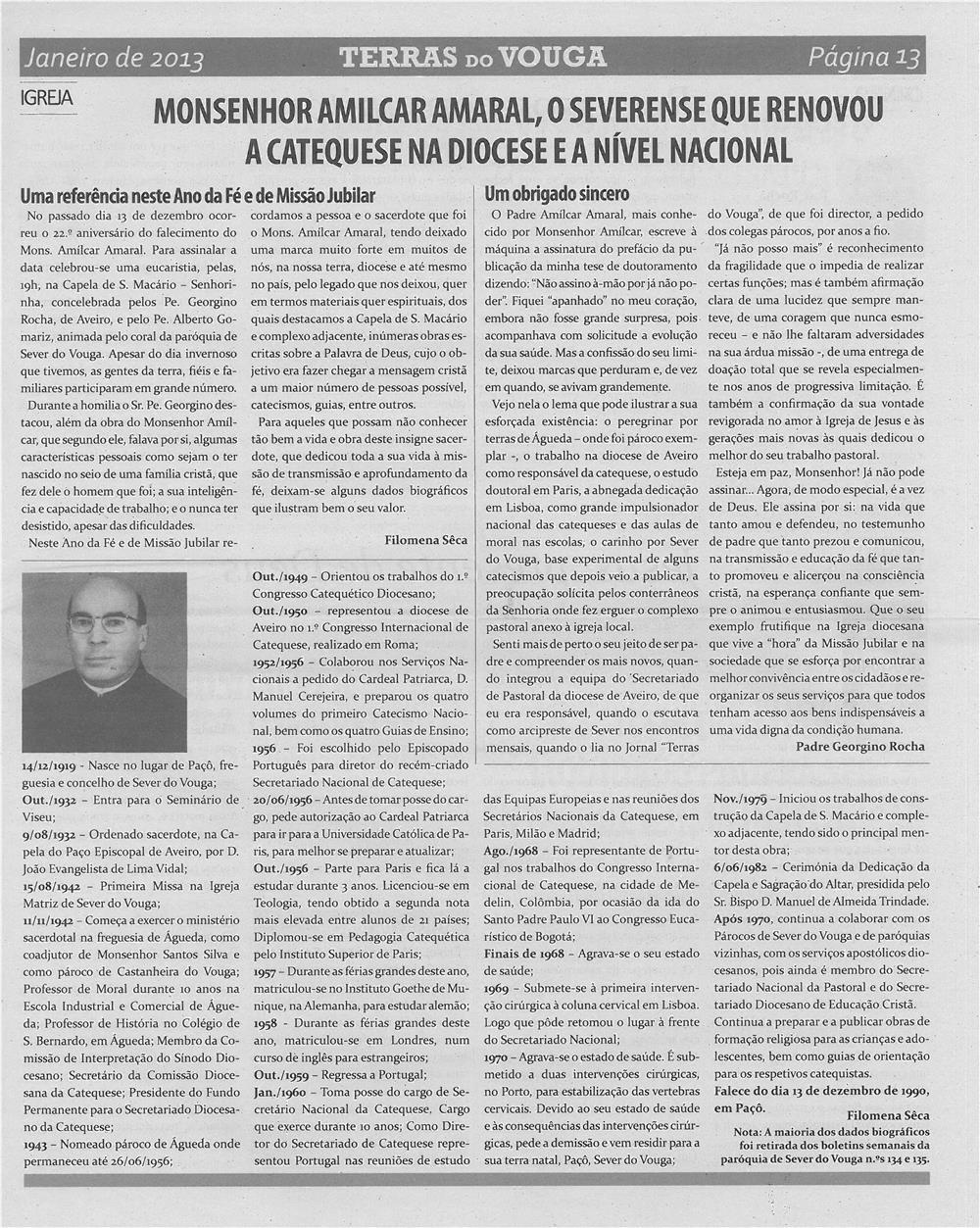 TV-jan13-p13-Monsenhor Amilcar Amaral, o severense que renovou a catequese na diocese e a nível nacional