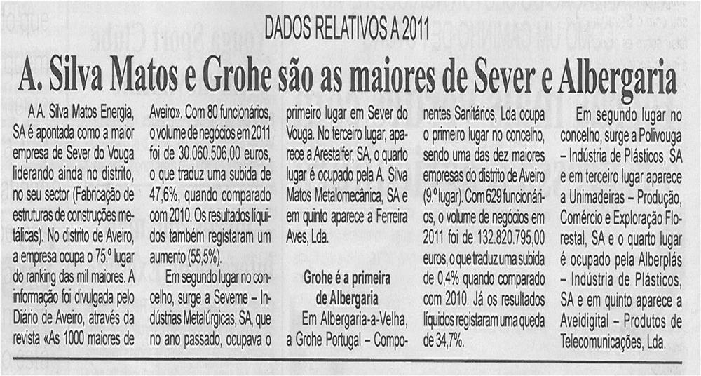 BV-1ªfev13-p2-A Silva Matos e Grohe são as maiores de Sever e Albergaria