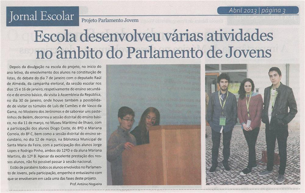 JE-mar13-p3-Escola desenvolveu várias atividades no âmbito do Parlamento de Jovens