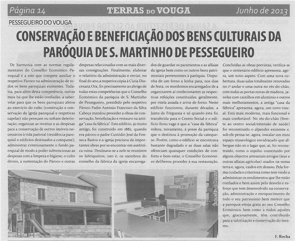 TV-jun13-p14-Conservação e beneficiação dos bens culturais da paróquia de S. Martinho de Pessegueiro