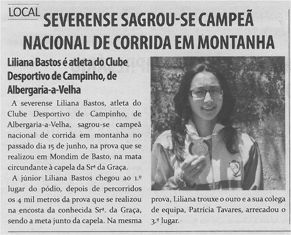 TV-jul13-p3-Severense sagrou-se Campeã Nacional de Corrida em Montanha