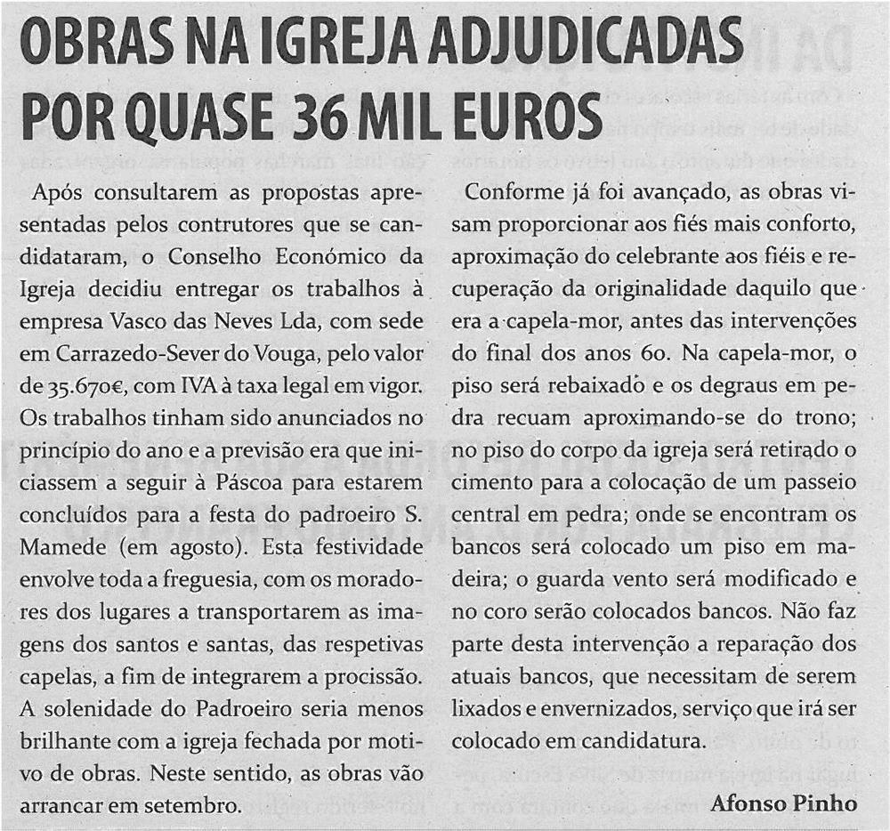 TV-jul13-p7-Obras na igreja adjudicadas por quase 36 mil euros